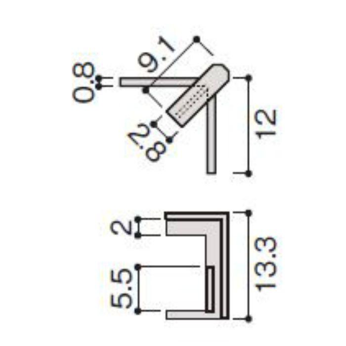 WP20-B7ZT 不燃壁材グラビオエッジ専用施工部材 J型見切コーナーカバー Tシルバー
