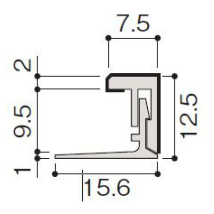 WF79-B66-42 不燃壁材グラビオエッジ専用施工部材 樹脂J型見切 Kシルバー