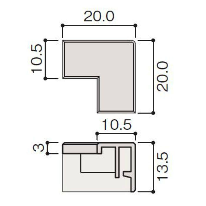 WF79-BP0-F4 不燃壁材グラビオエッジ専用施工部材 樹脂J型見切コーナーカバー Tシルバー
