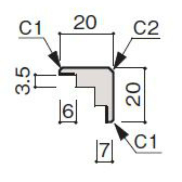 WF63-B172-41 グラビオ専用施工部材 木目柄(3mm) UB72用出隅