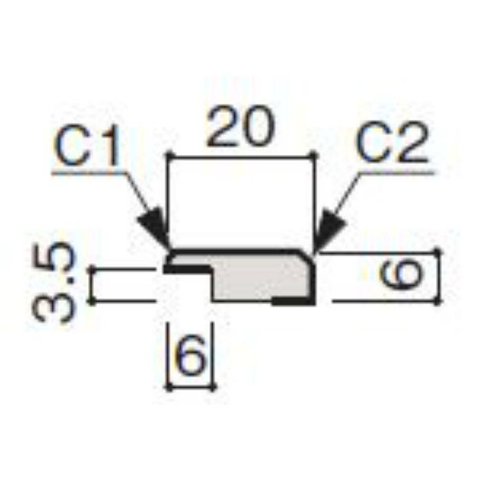 WF63-B374-42 グラビオ専用施工部材 木目柄(3mm) UB74用見切(入隅兼用)