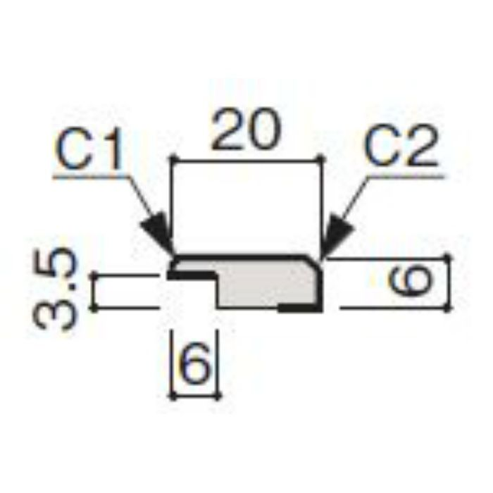 WF63-B321-42 グラビオ専用施工部材 木目柄(3mm) UB21用見切(入隅兼用)