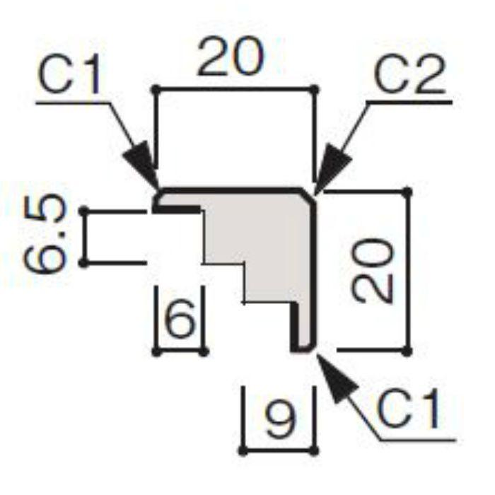 WF56-B1ML-41 グラビオ専用施工部材 UB木目柄(6mm) ML用出隅