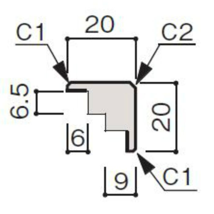 WF66-B123-41 グラビオ専用施工部材 UB木目柄(6mm) UB23用出隅
