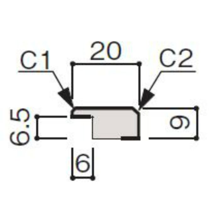WF56-B3MG-42 グラビオ専用施工部材 UB木目柄(6mm) MG用見切(入隅兼用)