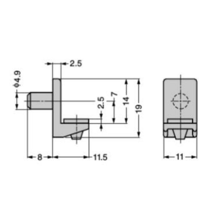 棚ダボ SS-307型 φ5穴用 SS-307BRG-P500 ブラウン (ゴム付)