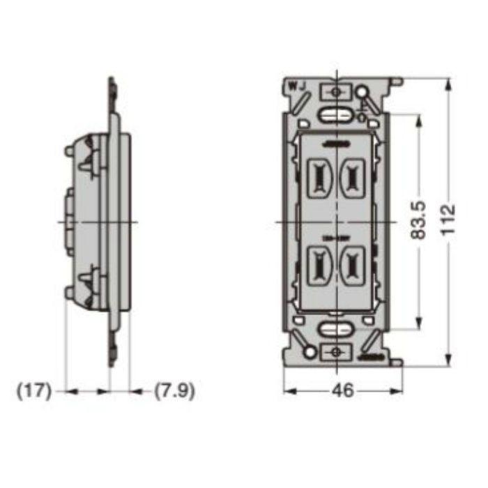 埋込ダブルコンセント PXP-J-JECBN55型 PXP-J-JECBN55-PW ピュアホワイト