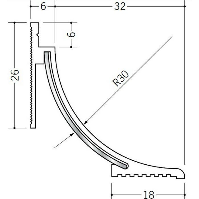 クリーンルーム用ボーダー PSR-530・630 三方出隅(床) オフホワイト