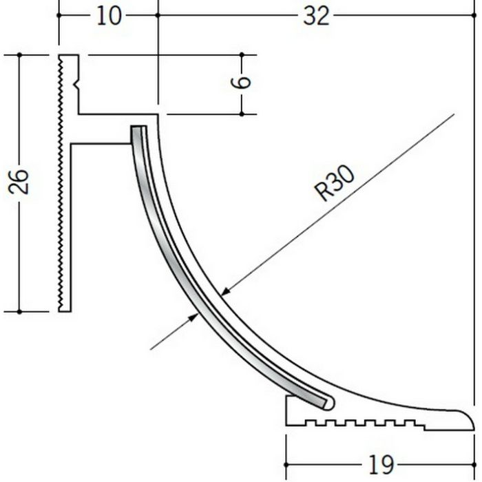 クリーンルーム用ボーダー SPB-230 直角入隅(床) オフホワイト