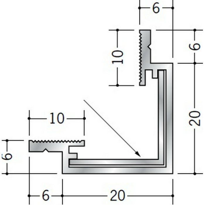 クリーンルーム用ボーダー CRS-2・AD-1 三方出隅(床) 55185