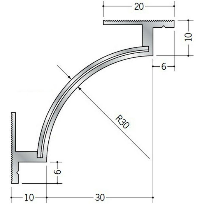 クリーンルーム用ボーダー アルミ CPB-1・4三方入隅(床) 1辺あたり250mm(働き寸法) 57064