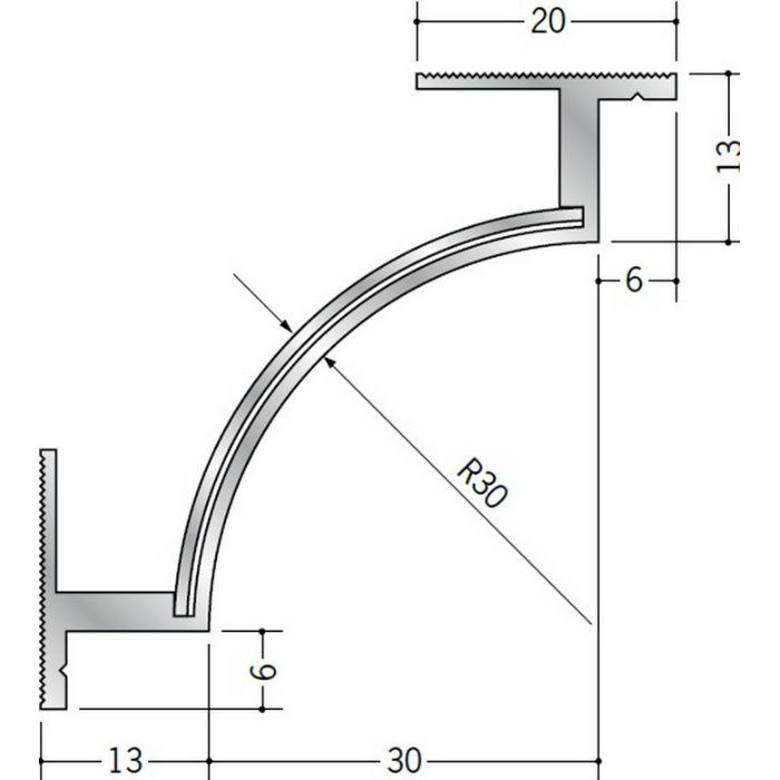 クリーンルーム用ボーダー アルミ CPB-3・5三方入隅(床) 1辺あたり250mm(働き寸法) 57066