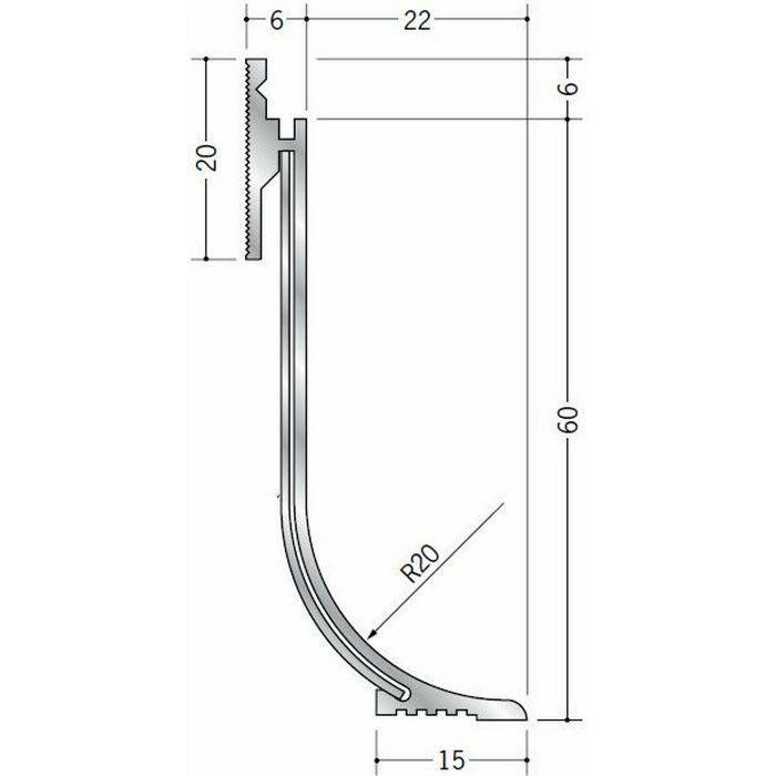 クリーンルーム用ボーダー アルミ CMR-2 直角出隅(床) 1辺あたり250mm(働き寸法) 56098