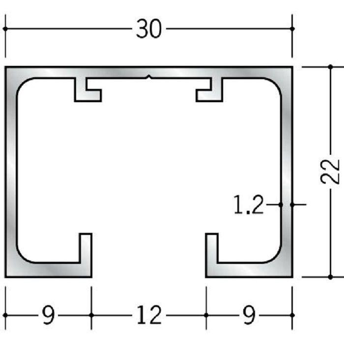 ピクチャーレール ビス止めタイプ アルミ PR-22F ホワイトアルマイト 3m 57208-2