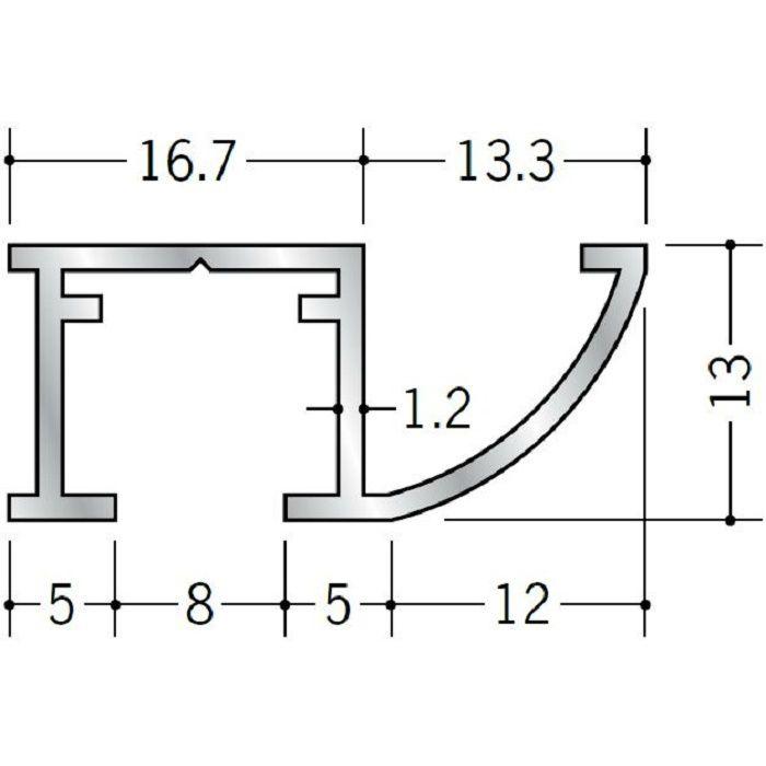 ピクチャーレール ビス止めタイプ アルミ PR-3017R フック投入口あき(右側) ホワイトアルマイト 3m 57157-2