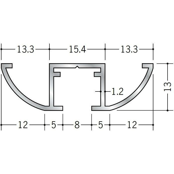 ピクチャーレール ビス止めタイプ アルミ PR-4217R アルマイトシルバー 3m 57154-1