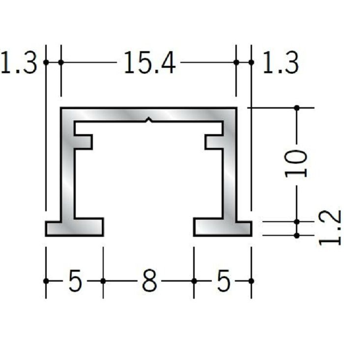 ピクチャーレール ビス止めタイプ アルミ PR-109 フック投入口あき アルマイトシルバー 3m 57117-1