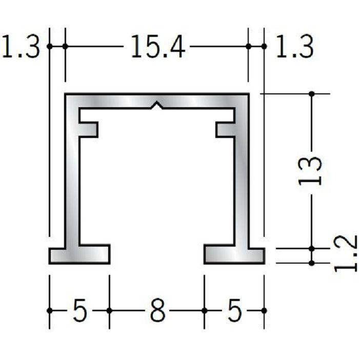 ピクチャーレール ビス止めタイプ アルミ PR-112 フック投入口あき ホワイトアルマイト 3m 57118-2