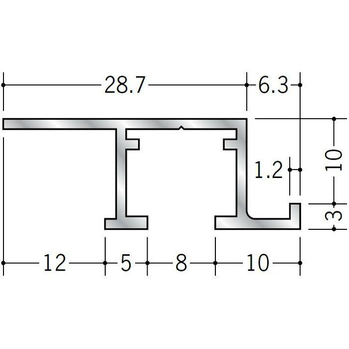 ピクチャーレール ビス止めタイプ アルミ PR-9m フック投入口あき(右側) ホワイトアルマイト 3m 57193-2