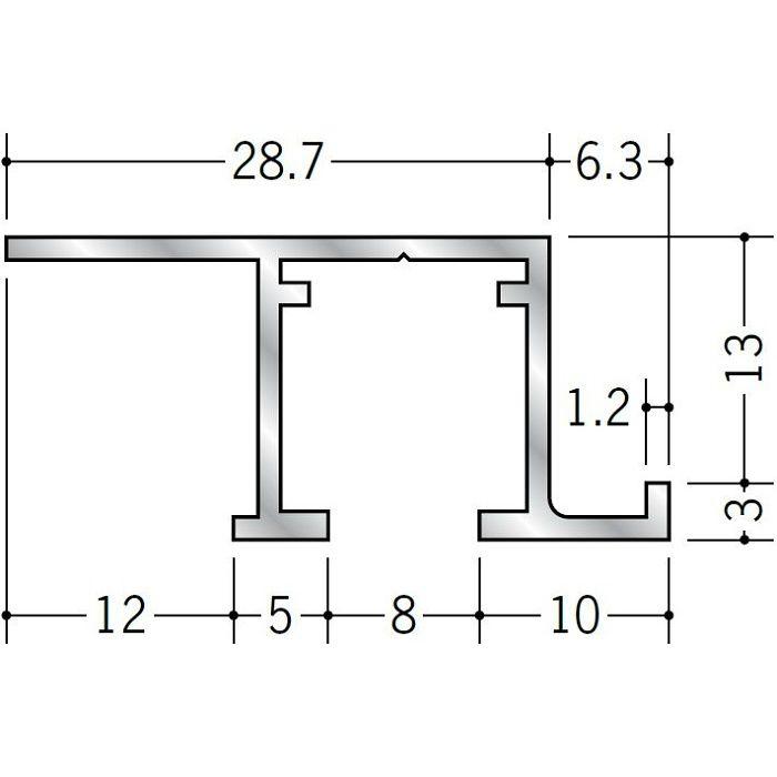 ピクチャーレール ビス止めタイプ アルミ PR-12m フック投入口あき(右側) ホワイトアルマイト 3m 57194-2