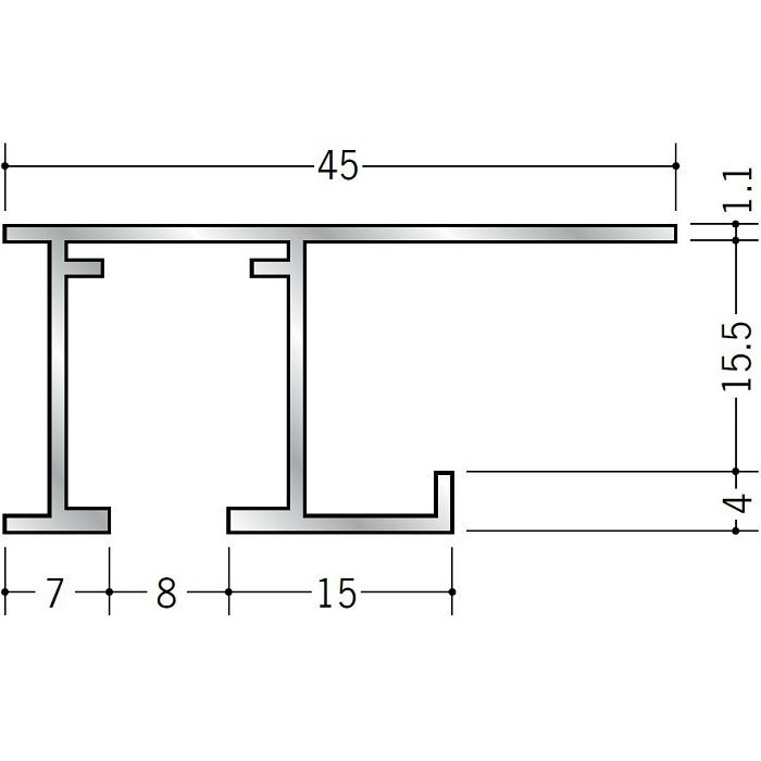 ピクチャーレール ビス止めタイプ アルミ PR-515S アルマイトシルバー 3m 59101-1