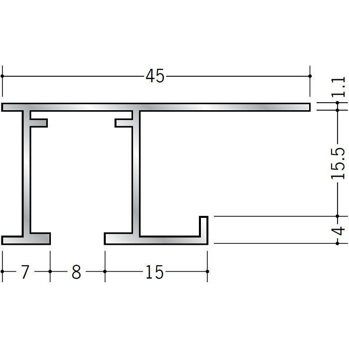 ピクチャーレール ビス止めタイプ アルミ PR-515S フック投入口あき(右側) アルマイトシルバー 3m 59111-1