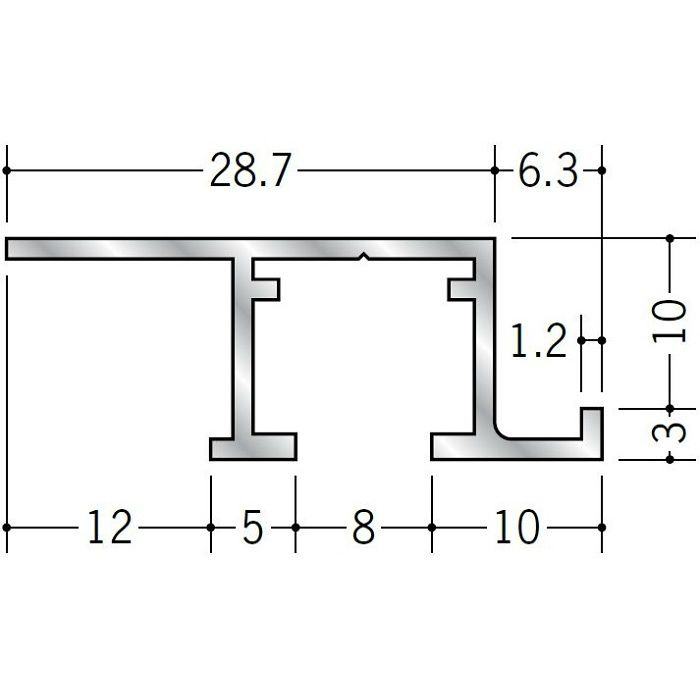 ピクチャーレール ビス止めタイプ アルミ PR-9m用サイドカバー(右用) ホワイト 57123-2