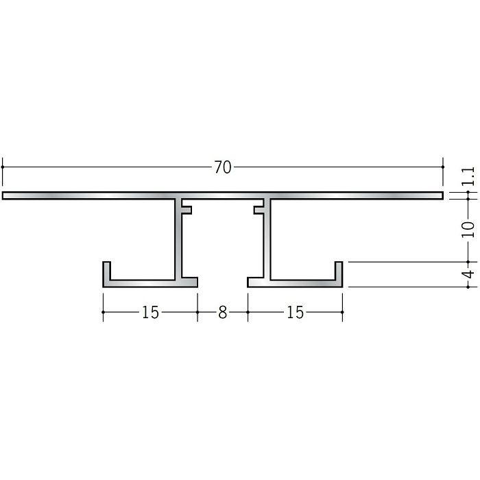 ピクチャーレール ビス止めタイプ アルミ PR-709S ホワイトアルマイト 3m 57203-2
