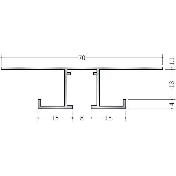 ピクチャーレール ビス止めタイプ アルミ PR-712S ホワイトアルマイト 3m 57205-2