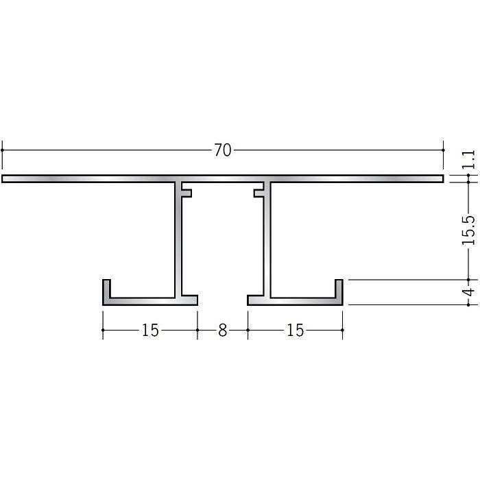 ピクチャーレール ビス止めタイプ アルミ PR-715S ホワイトアルマイト 3m 57201-2