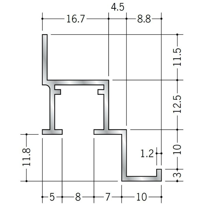 ピクチャーレール ビス止めタイプ アルミ PR-912F ホワイトアルマイト 3m 57151-2
