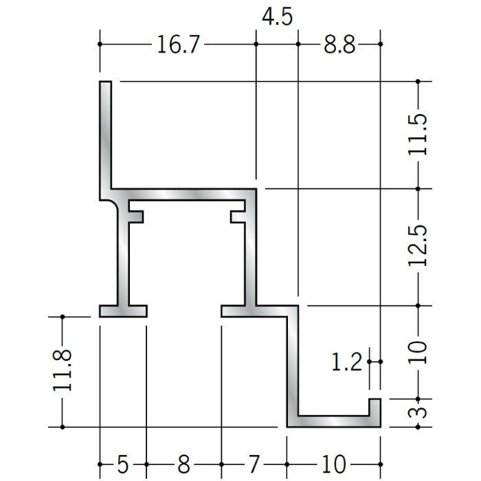 ピクチャーレール ビス止めタイプ アルミ PR-912F フック投入口あき(右側) アルマイトシルバー 3m 57156-1