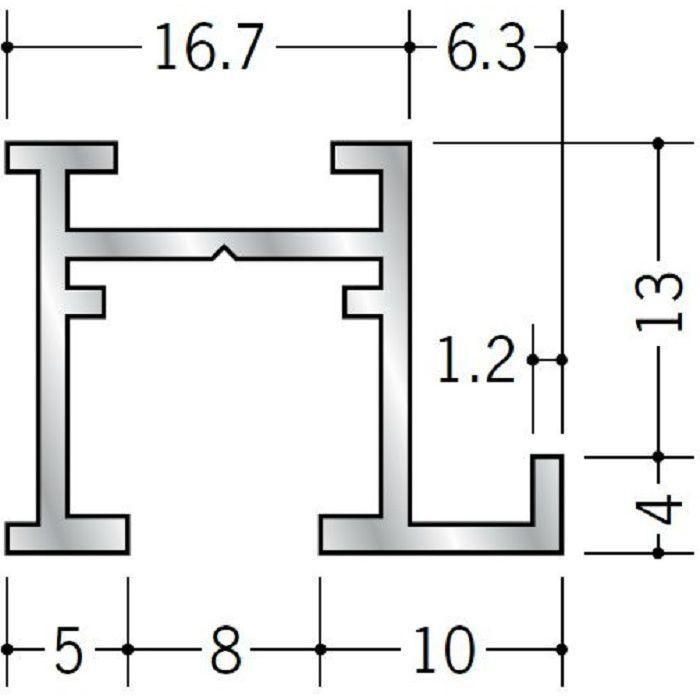 ピクチャーレール ブラケットタイプ アルミ PR-412 フック投入口あき(右側) 電解ブラック 3m 57146-3