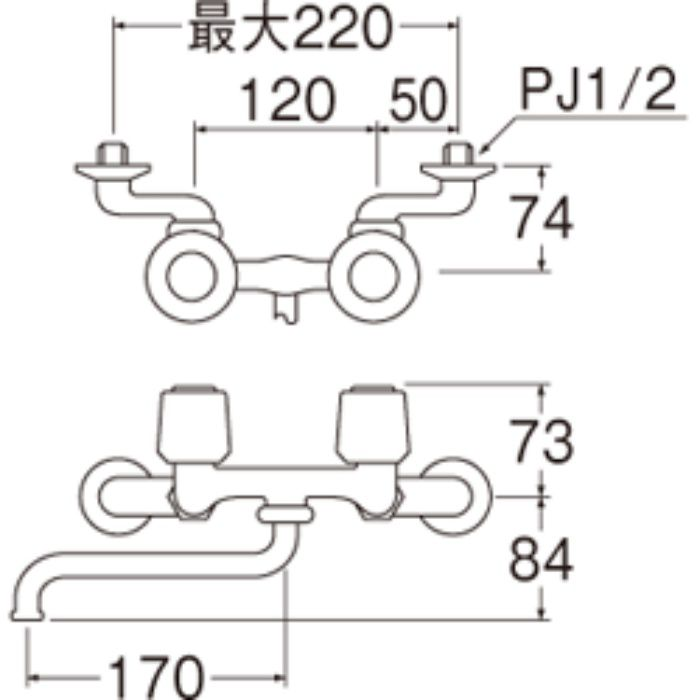 K11K-LH-13 ツーバルブ混合栓(寒冷地仕様)【壁付】