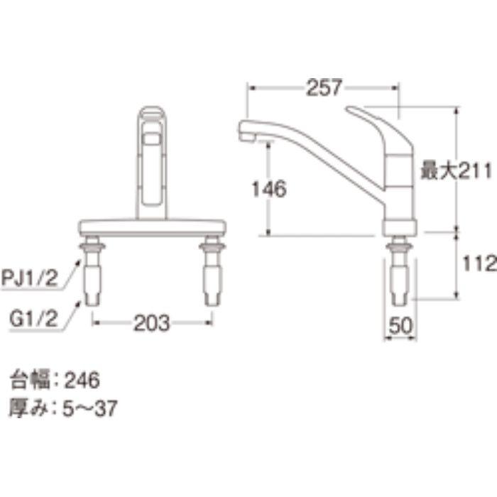 K676V-13 シングル台付混合栓
