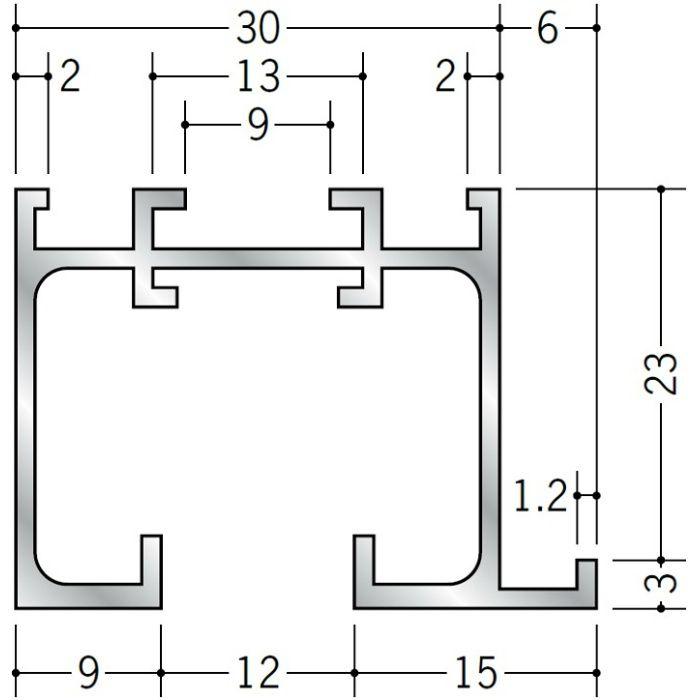 ピクチャーレール ブラケットタイプ アルミ PR-33F アルマイトシルバー 3m 57210-1