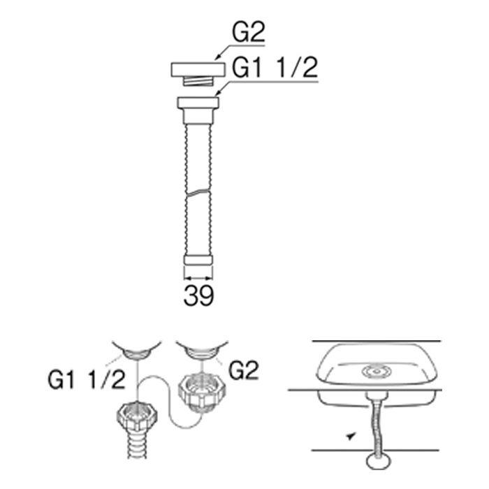 PH62A-860S-1 流し排水栓ホース(ネジ付)