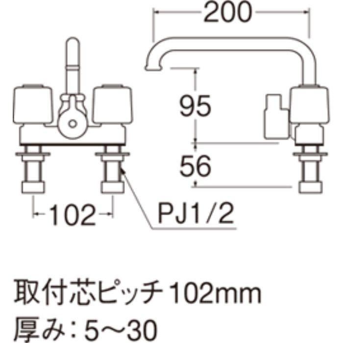 SK71K-LH-13 ツーバルブデッキシャワー混合栓(寒冷地仕様)【台付】