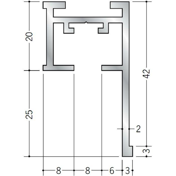 ピクチャーレール ブラケットタイプ アルミ PR-60F ホワイトアルマイト 3m 57134-2