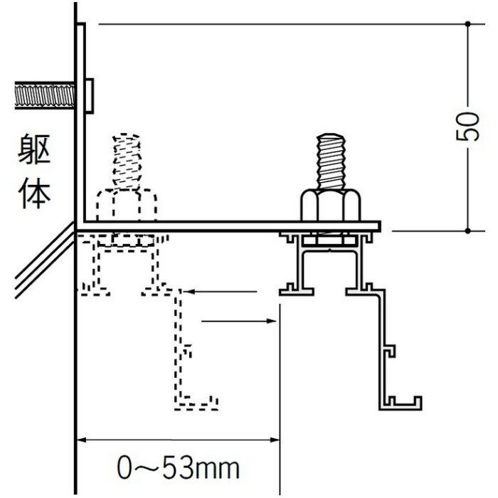ピクチャーレール ブラケットタイプ アルミ PR-60F フック投入口あき ホワイトアルマイト 3m 57135-2