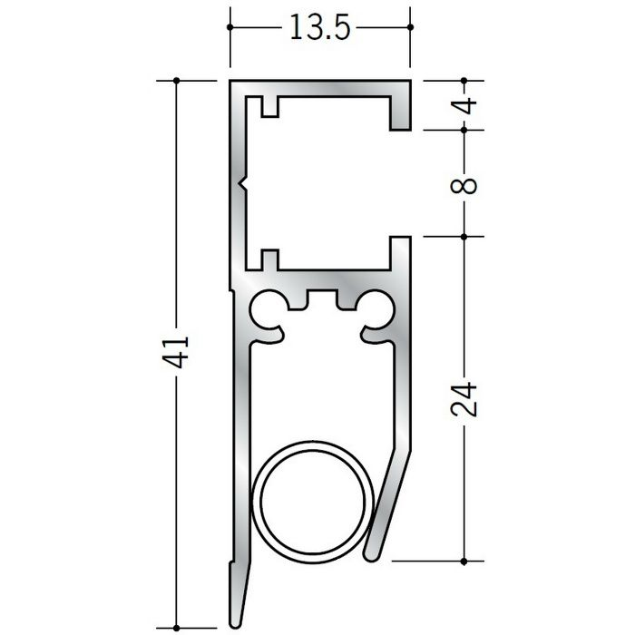 ペーパーレール アルミ APL-101(壁付用) ホワイトアルマイト 2m 57047-2