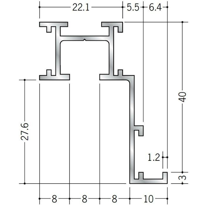 ピクチャーレール ブラケットタイプ アルミ PR-40F用サイドカバー(左用) シルバー 57025-4