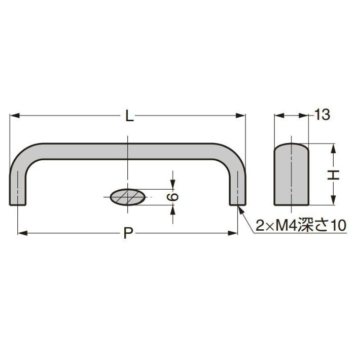 ランプ印 ステンレス鋼製ハンドル DL-SUS304型 DL-130M-SUS304