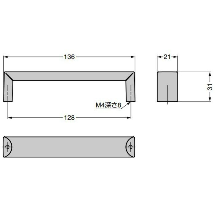 ハンドル MN680Z128型 マットブロンズ MN680Z128E237