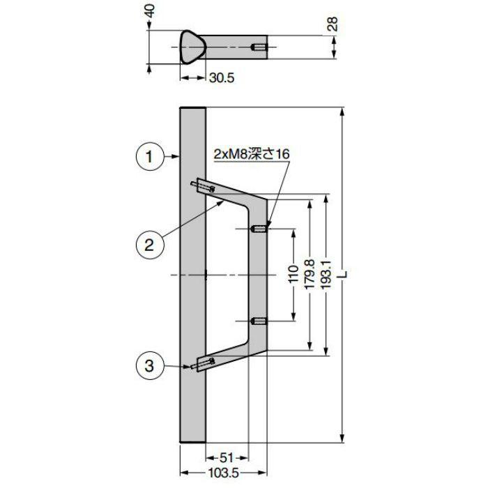 ランプ印 マシナリーハンドル TBH型 ストレートタイプ マットブラック TBH-400BL