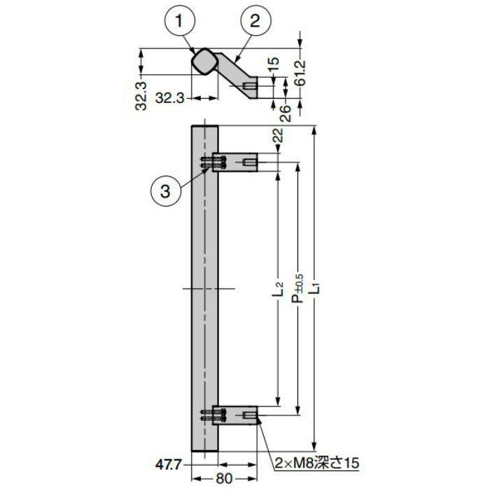 ランプ印 マシナリーハンドル SBH型 オフセットタイプ マットシルバー SBH-600SL