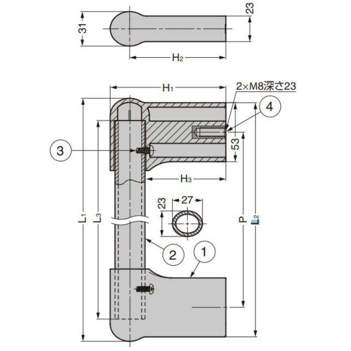 ランプ印 アルミパイプハンドル MTH型 MTH-T600