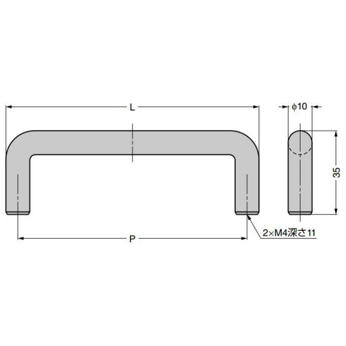 ランプ印 ステンレス鋼製ハンドル H-35型 (76型の代替品) H-35-288-SS