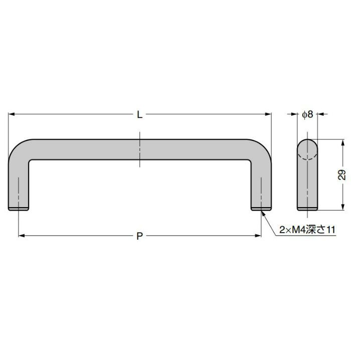 ランプ印 ステンレス鋼製ハンドル H-29型 (78型の代替品) H-29-192-SM