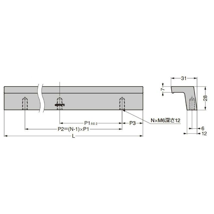 ランプ印 アルミ押出ハンドル ALH型 ステン仕上ステンレス調 ALH-150ST